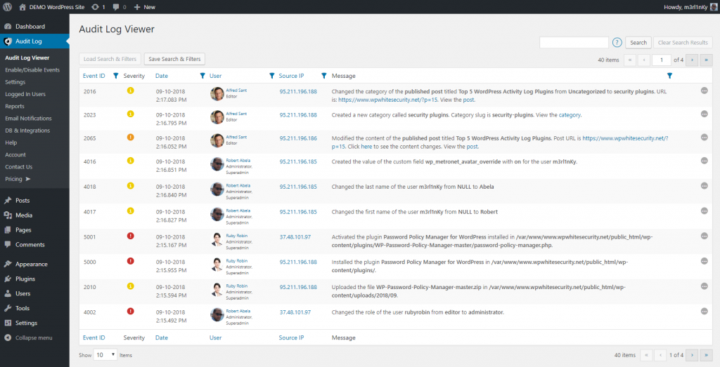 WordPress audit log