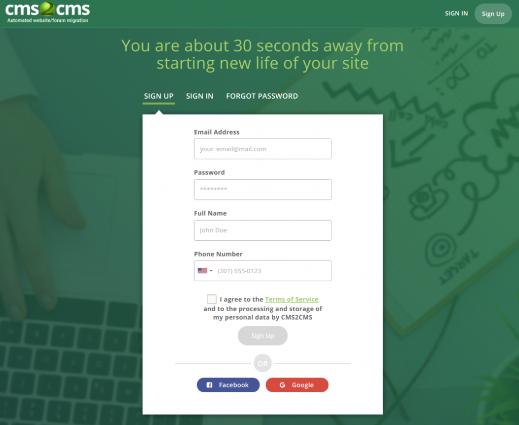 create CMS2CMS account