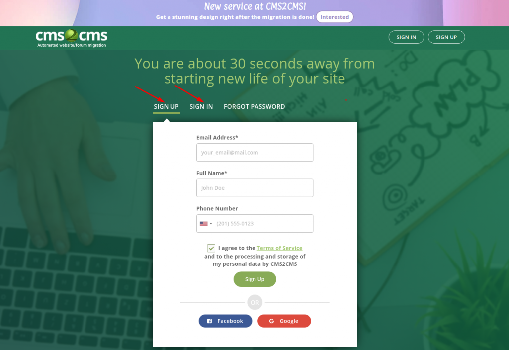 sign up with cms2cms