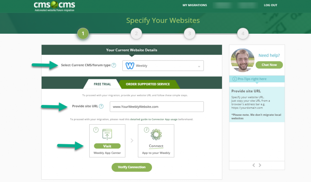cms2cms connect to weebly site