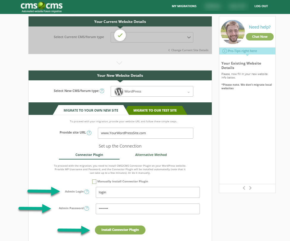 cms2cms connect to wordpress site