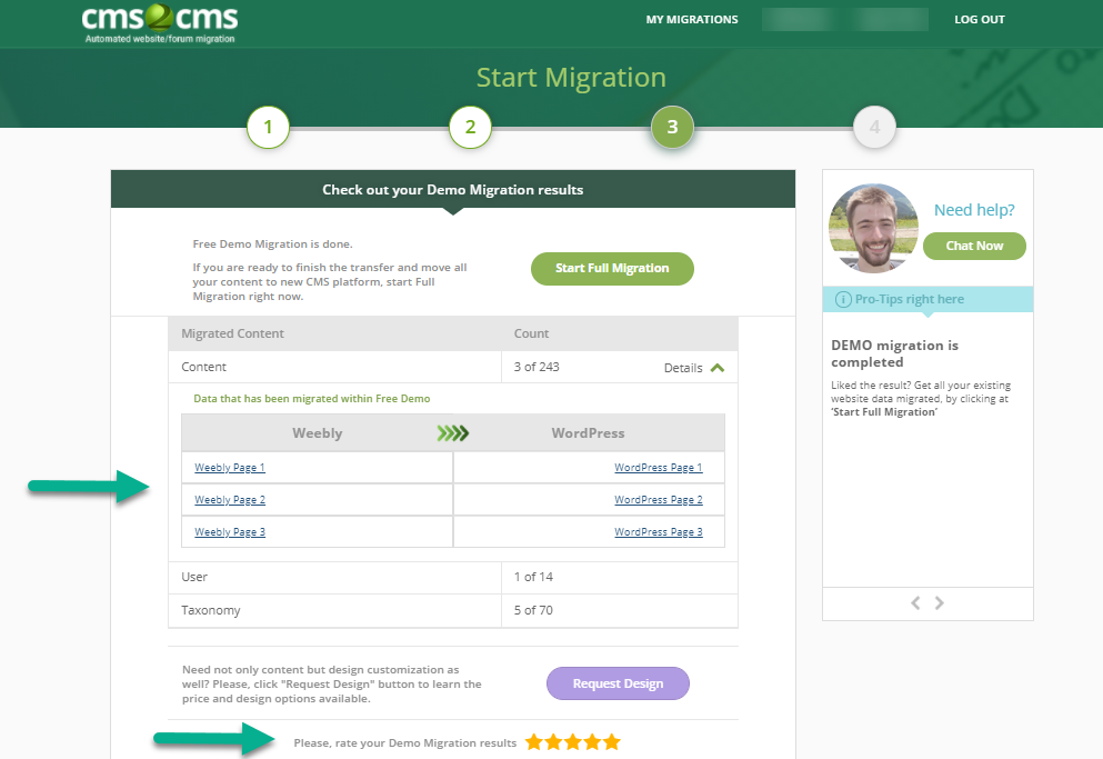 cms2cms weebly to wordpress demo results